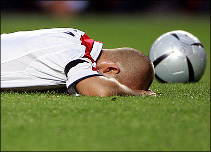 England captain David Beckham after losing their Euro 2004 quarter-final to Portugal