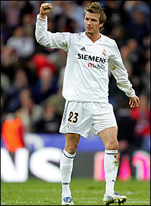 David Beckham celebrates the 4-2 win over Barcelona