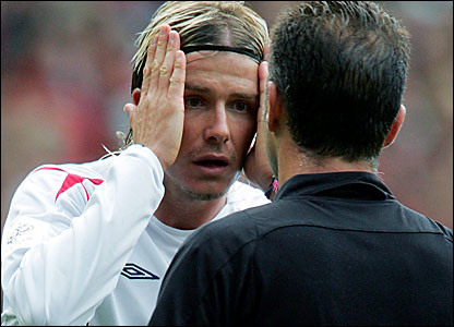 David Beckham (left) receives his marching orders against Austria