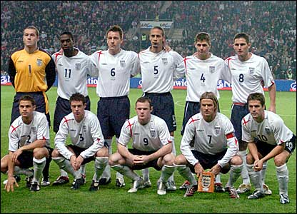 The England starting XI for David Beckham's (second right bottom row) 50th game as captain