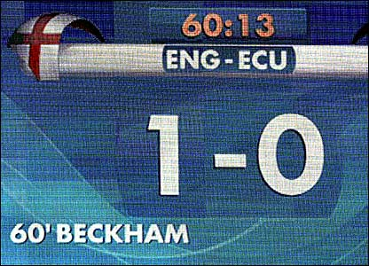 The scoreboard records England's goal against Ecuador at the 2006 World Cup