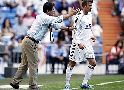 Real Madrid manager Fabio Capello (left) and David Beckham