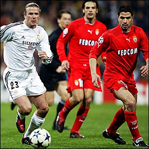 David Beckham (left) in action for Real Madrid in their 5-5 aggregate draw with Monaco
