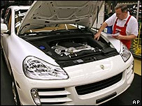 Workers on Porsche production line
