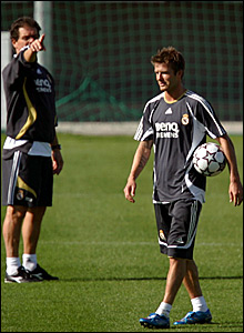 Real Madrid coach Fabio Capello (left) and David Beckham