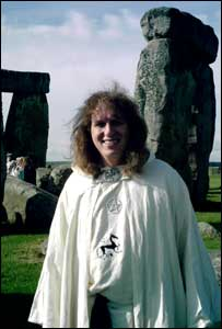Druid Frank Somers helped perfom a drumming ceremony to support Stonehenge's 7 Wonders bid