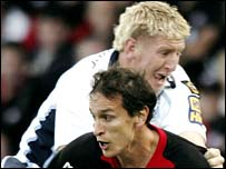 Cardiff Blues lock Bradley Davies (top)