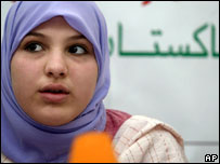 Molly Campbell also known as Misbah Iram Ahmed Rana, at a press conference in Islamabad, Pakistan