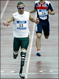 Oscar Great Britain's Ian Jones during the 200m at the Paralympic World Cup in Manchester in May