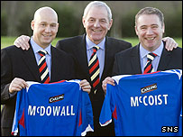 Walter Smith (centre), with Ally McCoist and Kenny McDowall