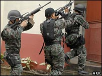 Philippine special police drill in Cebu, the Philippines