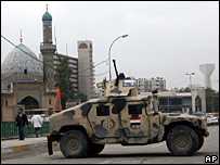 An Iraqi army Humvee at a checkpoint in Baghdad