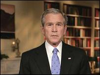 El presidente Bush durante su discurso desde la Casa Blanca