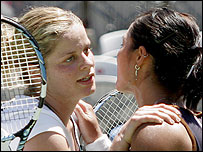 Kim Clijsters (L) and Li Na