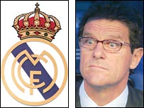 Real Madrid badge and former boss Fabio Capello