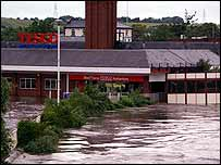 Flooded Tesco store in Rotherham