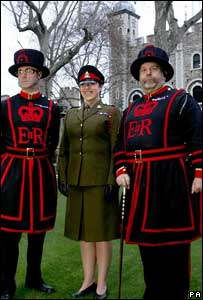 Moira Cameron with her fellow Beefeaters
