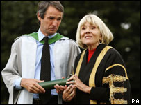 Alan Hansen and Dame Diana Rigg