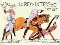 King Harold in the Bayeux tapestry (picture from English Heritage)