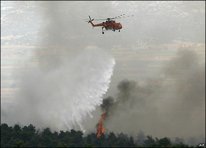 Greek water-bomber helicopter over Mount Parnitha, northwest of Athens - 28/06/2007