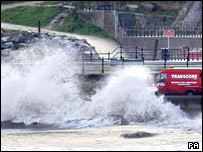Waves washing up on to roads at Scarborough