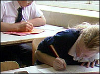 Pupils writing 