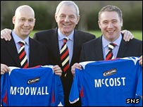 Kenny McDowall, Walter Smith and Ally McCoist are Rangers' new coaching team