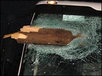 Debris in lorry window, courtesy of Dorset Police