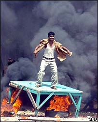 Rioter in Dhaka, 28 September 2006