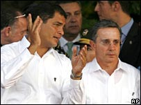 Ecuadorean President-elect Rafael Correa and Colombian President Alvaro Uribe