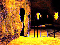 A graphic shows a depiction of the cave