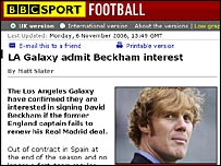 BBC Sport website reveals LA Galaxy would like to sign David Beckham