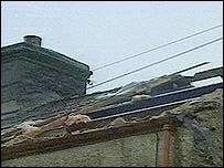 Damaged house at Nant Peris, Gwynedd