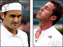 Federer (left) has lost to Safin twice