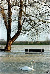 Flooded park in Huntingdon, Cambridgeshire