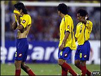 Jugador colombiano despu�s de derrota con Paraguay