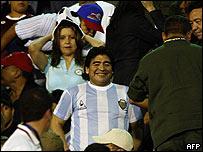 Diego Maradona en la tribuna