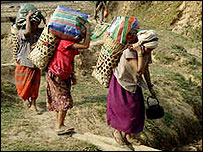 Villagers flee attacks from government soldiers in Karen state, Burma, in March 2007. Picture from the Free Burma Rangers organisation