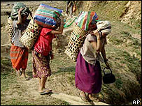 Villagers flee attacks from government soldiers in Karen state, Myanmar, in March 2007. Picture from the Free Burma Rangers organisation