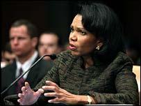 Condoleezza Rice at Senate committee hearing