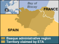 A map showing the Basque area