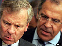 Sergei Lavrov (background) with Nato Secretary-General Jaap de Hoop Scheffer at talks in Moscow in June 2007