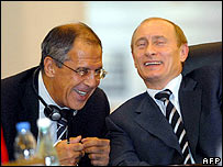 Sergei Lavrov (left) with Vladimir Putin at talks in Istanbul in June 2007