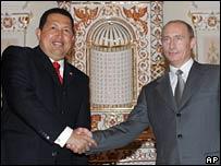 Hugo Chavez (left) and Vladimir Putin (right)