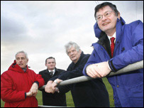 Culture Minister Alun Pugh (right) with from left Hywel Edwards, National Eisteddfod Organiser; Aaron Shotten, Flint Council Leader and Elfed Roberts, Eisteddfod Director at the eisteddfod field