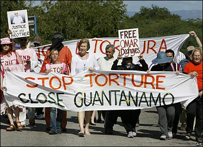 Anti-war activists near the US prison in Guantanamo Bay, Cuba