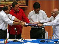 Daniel Ortega, Hugo Ch�vez, Evo Morales y Jos� Ram�n Machado