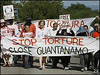 Protesters marching towards Guantanamo Bay