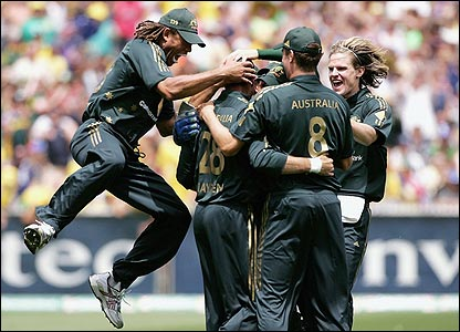 Australia celebrate the early dismissal of Andrew Strauss