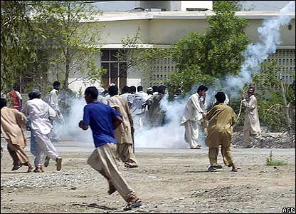 Police use tear gas to disperse demonstrators in central Turbat.